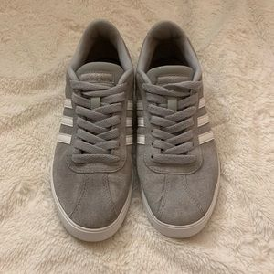 Women's Gray Adidas Courtset Suede Sneakers